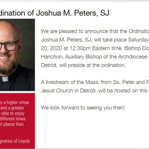 The Ordination of Joshua M. Peters, SJ